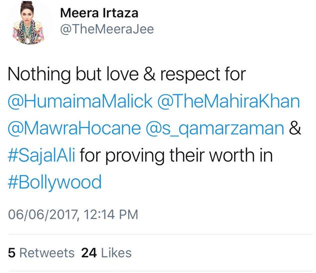 Meera praises Mahira Khan on Twitter