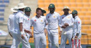 Pakistani Cricketers Yasir Shah celebrates after taking his second wicket, Pakistan v Sri Lanka, 1st Test, 1st day, Abu Dhabi, 28 September, 2017 Photo Courtesy: ESPN Cricinfo ©Tom Dulat/Stringer