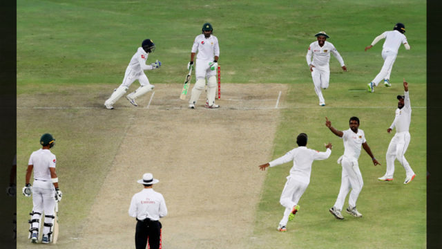 Dilruwan Perera had Haris Sohail caught behind, Pakistan v Sri Lanka, 2nd Test, Dubai, 4th day, October 9, 2017 Image Source: ESPN Cricinfo ©AFP