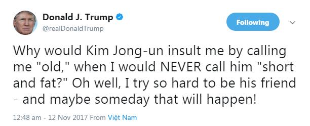 Kim Jong Un Trump tweet